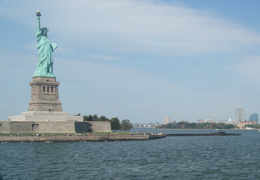 Statue Liberty From Back Of A Party Yacht